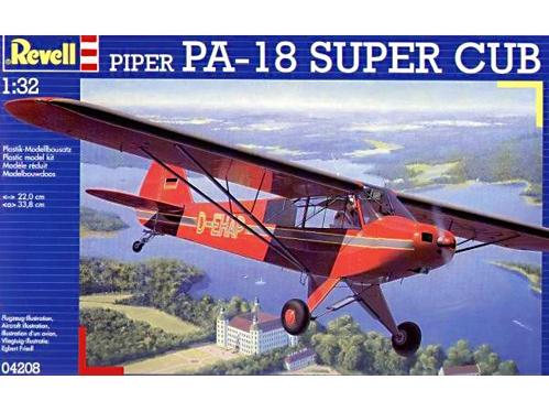 Revell plastbyggsats av Piper PA-18 Super Cub (Fpl 51) skala 1:32. Svenska dekaler ingår inte. Katalognummer 04208