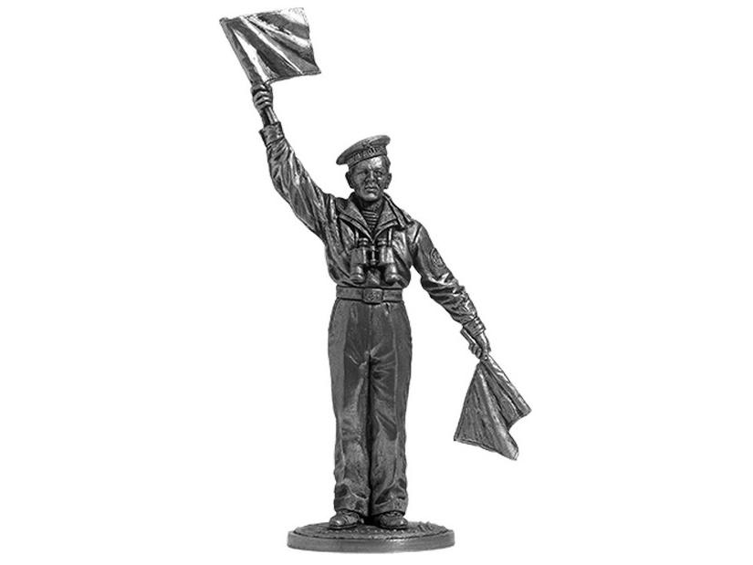 Фигура оловянная Краснофлотец-сигнальщик, ВМФ 1941-45 гг. СССР WWII-39