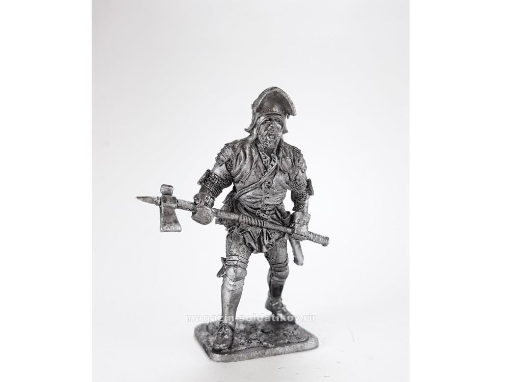 Фигура оловянная Западноевропейски пеший воин, 15 век M287
